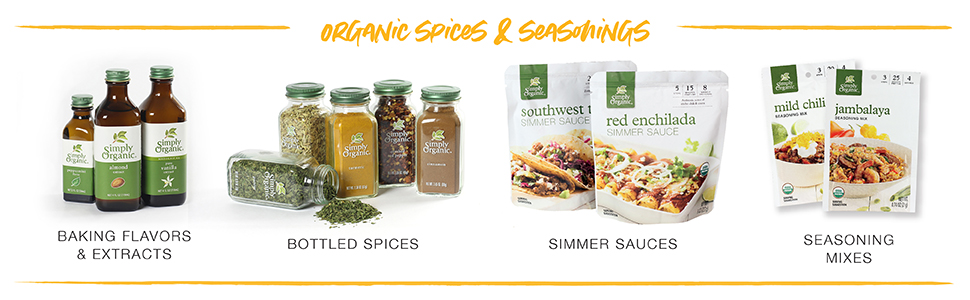 Simply Organic Seasonings, extracts, spices, seasoning mixes