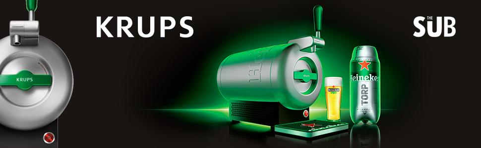 Krups The Sub Heineken VB650E10 - Tirador de cerveza, 2 l frescos ...