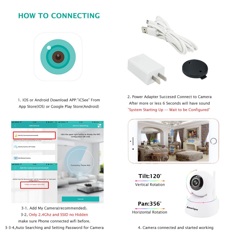 AMERIQUE CAM Smart Camera With Antenna Pan 356°/Tilt 120