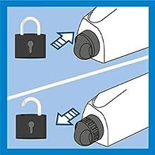 Le mécanisme de verrouillage signifie que le Rewind 4 est sécurisé en toute sécurité