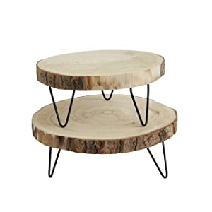 9 Round Paulownia Wood Pedestal w// Metal Legs Creative Co-op DA7522