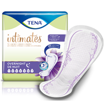 TENA Intimates Overnight Incontinence Pads with a single pad out of the packaging