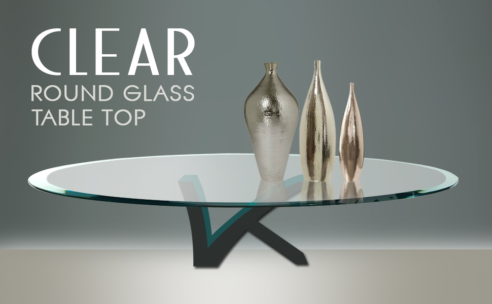 Clear Round Beveled Polished Glass Tabletop