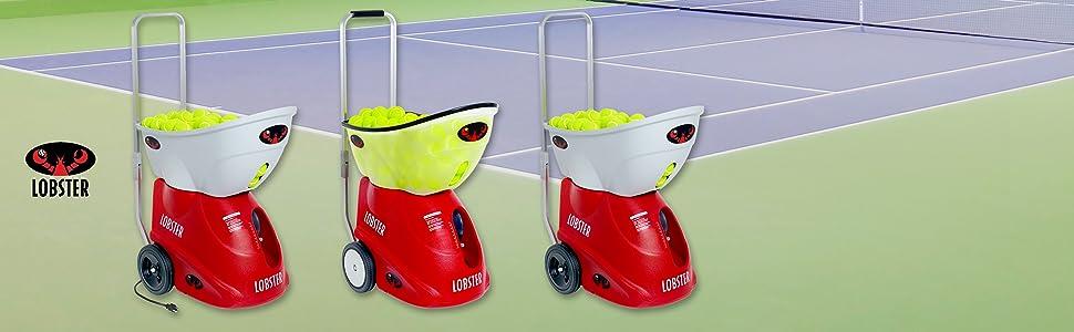 Lobster Sports portable tennis ball machines on tennis court elite elite grand elite a/c