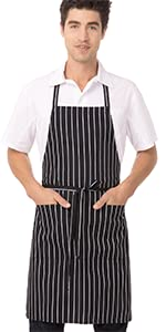Chef Works Bib Apron, Black/White Chalk Stripe