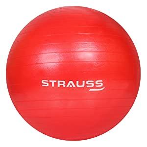 Anti Burst Gym Ball with Foot Pump (Red)