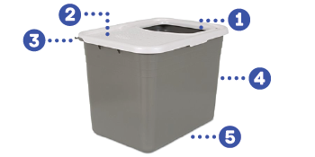 top entry cat box, deep litter box, cat box with lid, open top litter box, open top cat litter box,