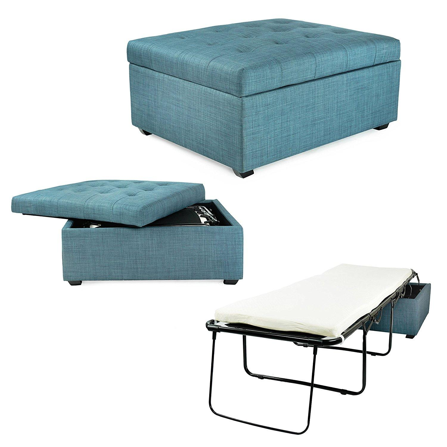 Amazon Com Ibed Convertible Ottoman Guest Bed In Blue