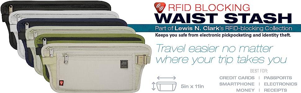 RFID radio frequency blocking trip kangaroo pouch credit cards pasport organizer neck stash waste