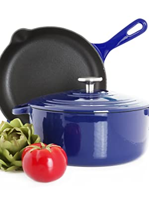 cast iron set skillet french dutch oven healthy even heat style gravity cast mold experience