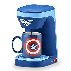 Captain America Coffee Maker Single Serve KCUP Marvel Superhero Patriotic Morning Present Gift