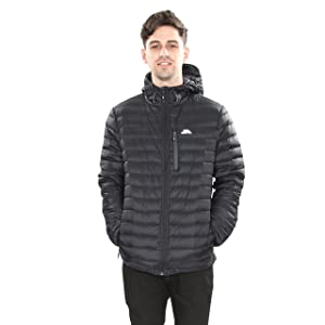 mens down jacket; outdoor down jacket; black down jacket; mens hooded down jacket; mens black jacket