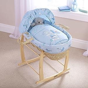 Bedding Blue Clair de Lune Ahoy Palm Moses Basket inc Mattress /& Adjustable Hood