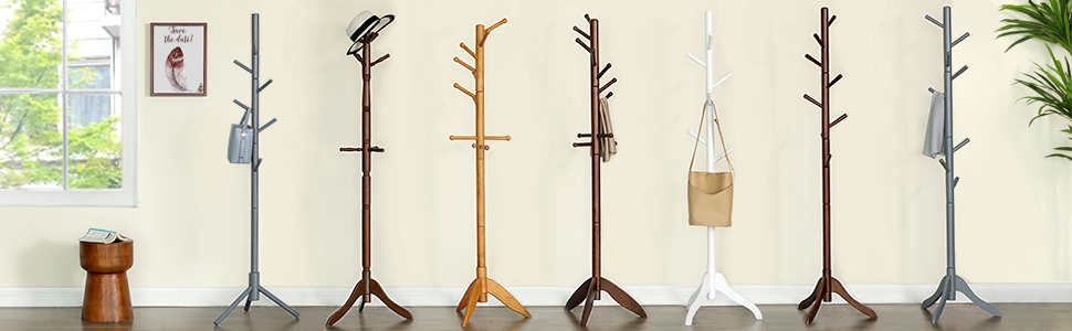 VASAGLE Coat Rack with 18.5 Inch Dia. Sturdy Base, 8-Hook Clothes Tree Hall Entryway Stand Free Standing, for Clothes, Hats, Handbags, Umbrella, Solid ...