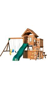 Tioga Fort, WS 8348, swing set for kids, swing set with slide, wooden swing set, playset for kids