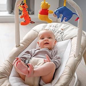 Beige Animals Sicherheitsgurt und Tragegriffe // ab Geburt bis 9 kg verwendbar // kippsicher und tragbar Hauck // Babywippe Bungee Deluxe // Schaukelfunktion // Spielbogen // verstellbarer R/ückenlehne