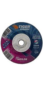 Weiler 58326 4-1/2 x 1/4 Tiger Ceramic Type 27 Grinding Wheel CER24R 5/8-11 Nut