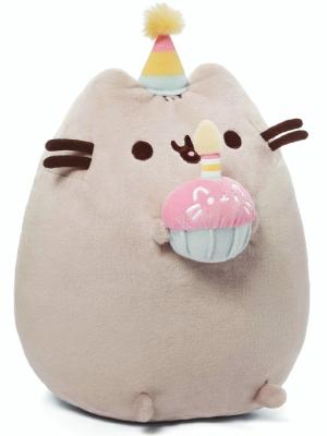 "GUND Pusheen Snackables Birthday Cupcake Cat Stuffed Animal Plush, Gray, 10.5"""