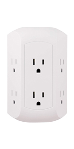 6 Outlet Surge Plug Protector Protection Wall Tap Outlets