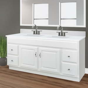 Design House 557678 Camilla Double 15 5 Vanity Top With 4 Backsplash 61 22 Inches Solid White Bowl Amazon Com