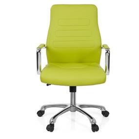 hjh OFFICE 720009 Chefsessel TEWA Kunstleder GrünChrom moderner Bürostuhl, niedrige Rückenlehne ergonomisch