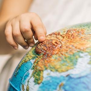 Relief;Globus;erhaben;fühlen;Lampe;lernen;entdecken;Spielzeug;Deko;tasten