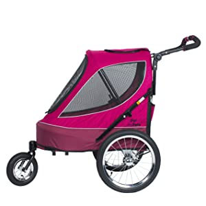"""Petique """"Blazin' Berry"""" All Terrain Pet Jogger in Pink and Magenta, Pet Stroller for dogs and cats"""
