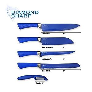 diamond sharp knife set