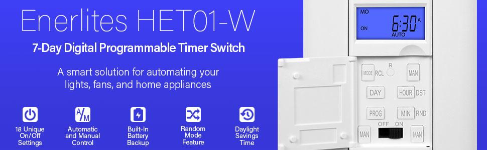 Enerlites HET01-W HET01 7 Days Digital in-Wall Programmable Timer Switch with Blue Backlight White