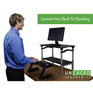 Affordable ergonomic adjustable height and angle stand up desk converter conversion