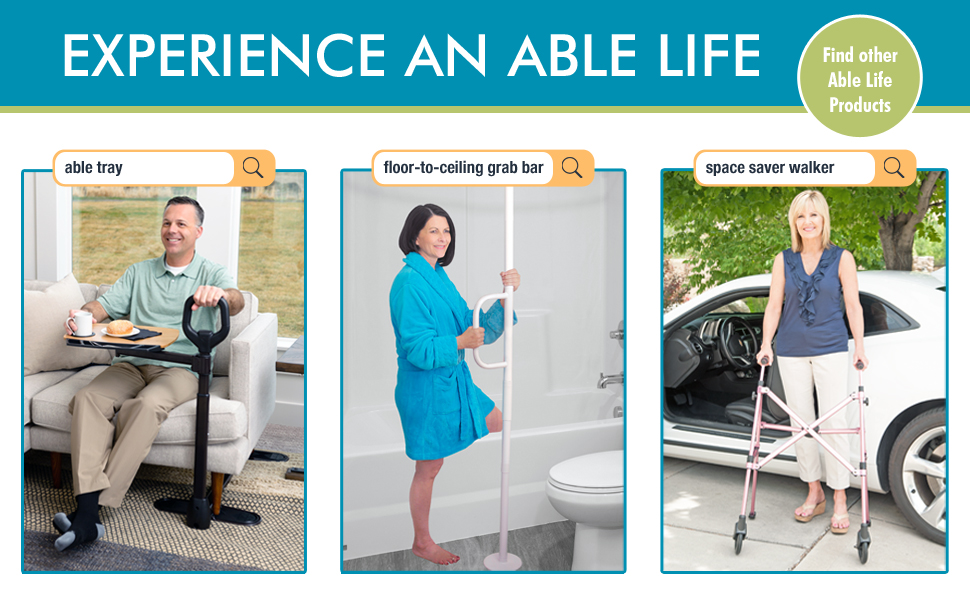 able life tv tray table universal floor ceiling grab bar transfer pole space saver walker rollator