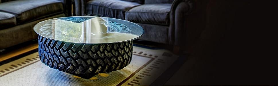 Recycle Old Tire Into Beautiful Coffee Table With Round Glass Table Top