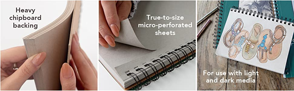 Sketch pad features heavy chipboard, microperforated sheets. Recycled toned art paper