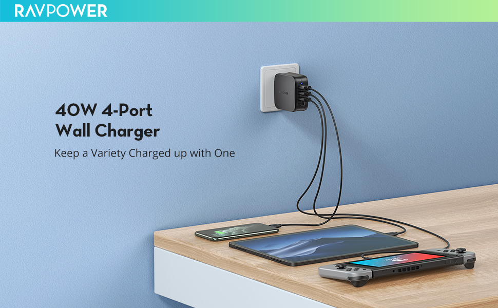 40W 4-port fast wall charger