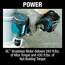 power BL brushless motor delivers 240 foot pounds max torque nut-busting