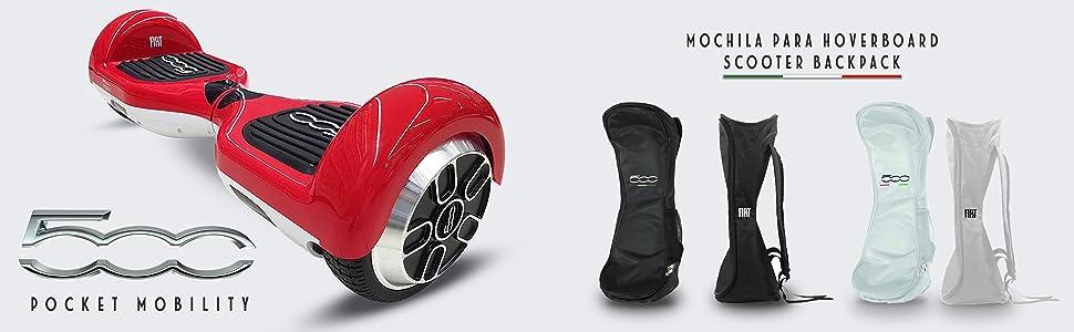 FIAT500 F500-BACKBAGW - Mochila para Hoverboard, para Modelo 6.5
