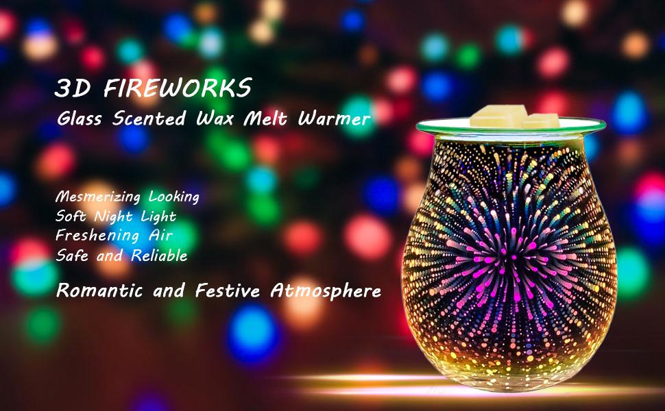Details about  /1X 3D Glass Electric Firework Oil Wax Melt Burner Fragrance 33W Aroma Lamp K2Q0