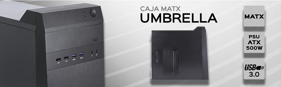 UNYKAch Umbrella Torre Negro 500 W - Caja de Ordenador (Torre, PC, Metal,SGCC, Negro, Micro ATX, CE, RoHS): Amazon.es: Informática