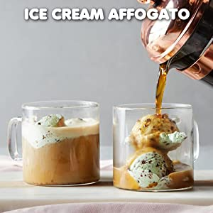 Coffee affogato, an Italian coffee treat of brewed coffee poured over ice cream or gelato
