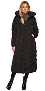 74a87686d Amazon.com: Steve Madden Women's Long Chevron Quilted Outerwear ...