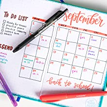 gel pens, highlighters, pens for writing, calendar