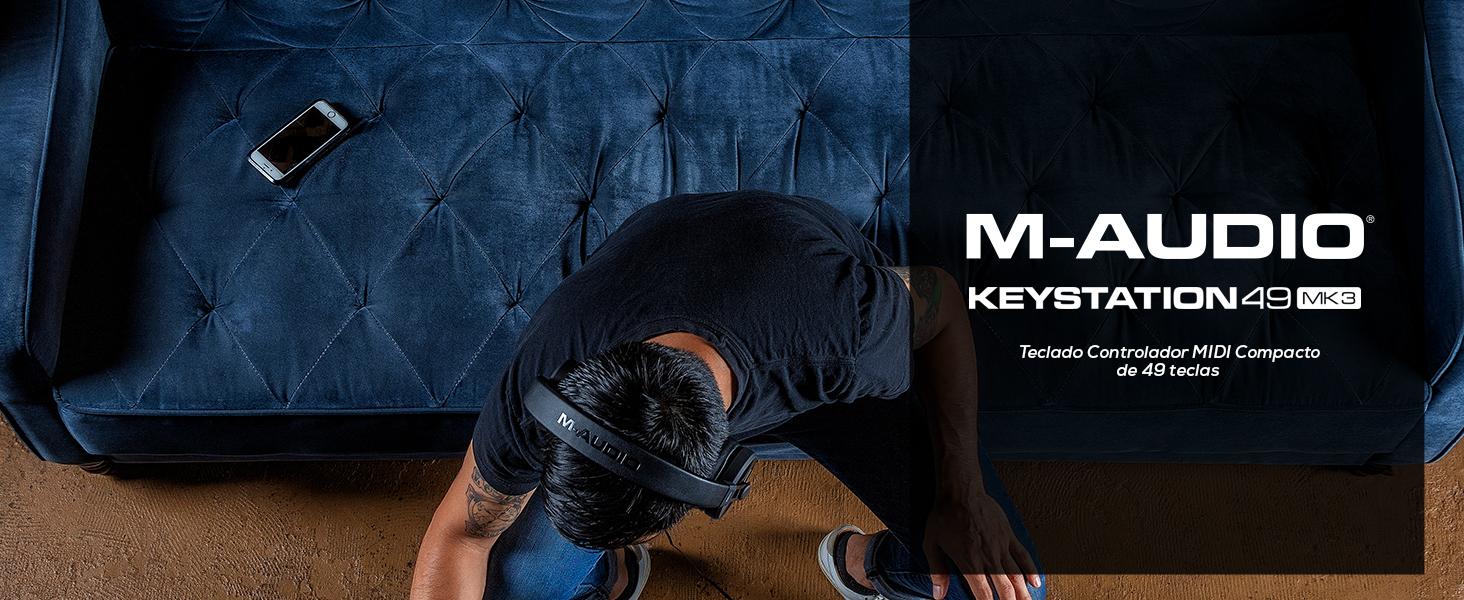 M Audio Keystation 49 MK3 Teclado Controlador MIDI USB Compacto de 49 teclas con controles asignables, ruedas de cambio de tonomodulación,