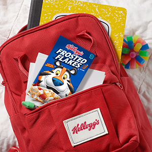 Individual serving sizes of Frosted Flakes fit into kids backpacks along with school supplies & toys