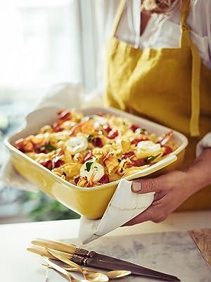 Presenting Emile Henry Modern Classic Rectangular Baker with baked pasta