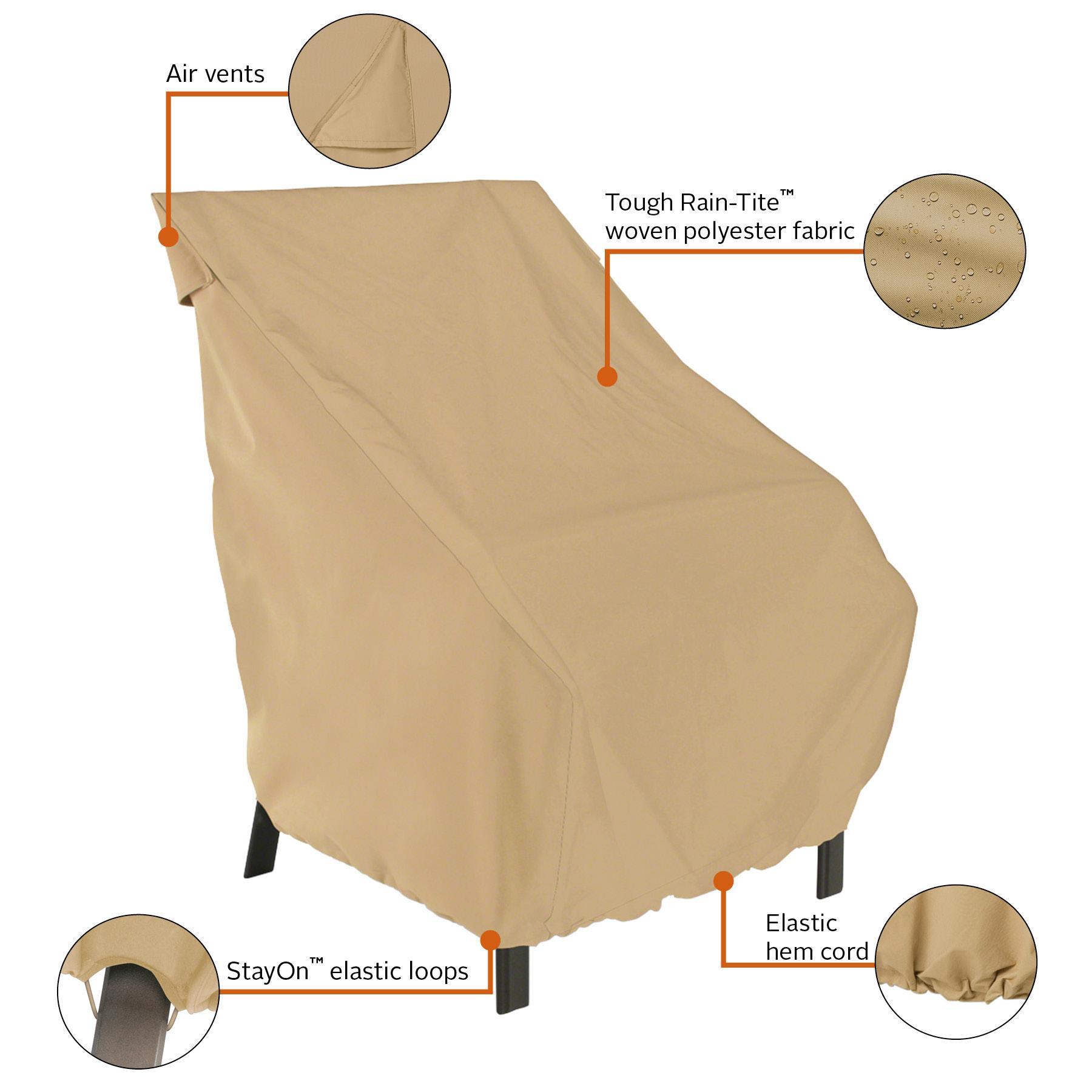 Classic accessories terrazzo high back patio chair cover for Patio furniture covers amazon ca