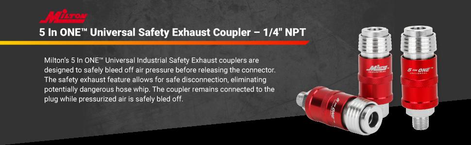 Mnpt Body 1//4 In Milton Industries 1751 Safety Exhaust Coupler 1//4 In