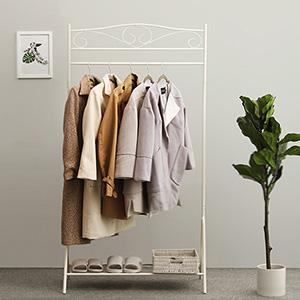 SONGMICS Perchero Burro, Colgador Metálico para ropa, Estante para zapatos, 90 x 44,5 x 173 cm, Blanco Crema HSR01W