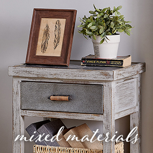 mixed materials drawer table