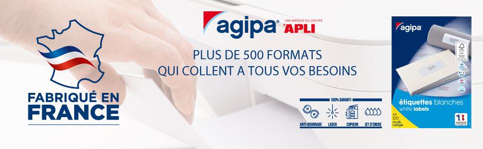 38 x 21,2 mm Impression : laser Apli Agipa 118990-6500 Etiquettes adh/ésives blanches A4 MU jet dencre copieur Fabriqu/é en France