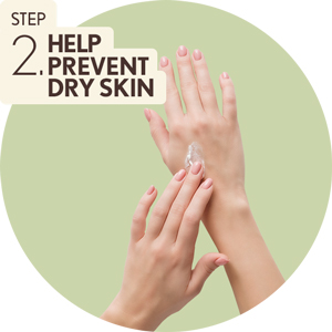 Step 2. Help prevent dry skin - hands applying Aveeno Fragrance-Free Daily Moisturizing Body Lotion